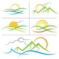 Nature sunrise mountain logo Royalty Free Stock Photo