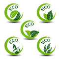 Nature symbols with leaf - eco icons Royalty Free Stock Photos