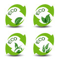 Nature symbols with leaf - eco icons Royalty Free Stock Images