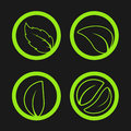 Nature symbols with leaf, simple circles, circular green eco labels Royalty Free Stock Photo