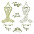 Nature yoga elements decorative icons and ornamental silhouette of woman in lotus pose Royalty Free Stock Photography