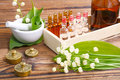 Naturopathy ampules and medicinal plants Stock Image