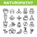 Naturopathy Therapy Vector Thin Line Icons Set