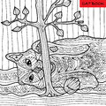 Naughty cat - coloring book for adults, zentangle patterns Royalty Free Stock Photo