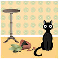 Naughty cat illustration of black who broke flower pot in the room Royalty Free Stock Photography