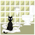 Naughty cat illustration black who played with toilet paper Stock Photo