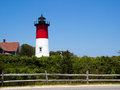 Nauset lighthouse is in historic cape cod near the national seashore Royalty Free Stock Photo