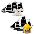 Nautic pirate ship with marine supplies scroll and there are two globe Royalty Free Stock Photography