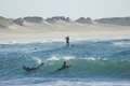 Nautic sports in baleal portugal bodyboard and paddle surfing water atlantic ocean bay peniche municipality leiria district Stock Photo