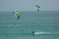 Nautic sports kitesurf in a windy day in baleal beach peniche portugal kitesurfers training Stock Photos