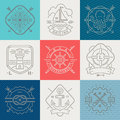 Nautical, adventures and travel emblems signs and label Royalty Free Stock Photo