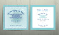 Nautical anchor rope tying the knot wedding card on cyan background Royalty Free Stock Photo