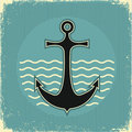 Nautical anchor.Vintage image Stock Photography