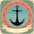 Nautical anchor.Vintage label