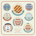 Nautical anchors label  set 01 Royalty Free Stock Photo