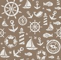 Nautical background, seamless, brown, vector.