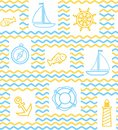 Nautical background, seamless, wave, zigzag, contour drawing, yellow and white.