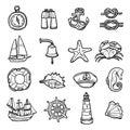 Nautical Black White Icons Set Royalty Free Stock Photo