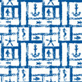 Nautical blue and white grunge lattice with anchor, star and fishes, seamless pattern, vector Royalty Free Stock Photo