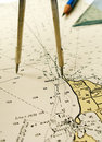 Nautical chart dividers pencil Royalty Free Stock Photo