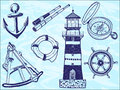 Nautical collection - hand-drawn illustration Royalty Free Stock Image