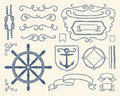 Nautical decoration set Royalty Free Stock Photo