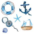 Nautical design elements hand drawn in watercolor. Life buoy with rope, compass, anchor, wooden ship, star fish and shell. Art vec Royalty Free Stock Photo