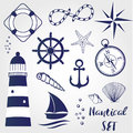Nautical design elements lighthouse, seashell, coral, starfihh, rope, anchor, steering wheel, life buoy, the wind rose, compass, s Royalty Free Stock Photo