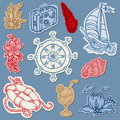 Nautical doodles on Torn Paper Royalty Free Stock Photos