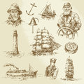 Nautical elements hand drawn set Stock Image