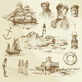 Nautical elements hand drawn set Stock Images