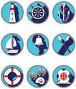 Nautical elements I icons in knotted circle including  boat bell, boat, oars, rudder, vintage diving mask, life ring, light house, Royalty Free Stock Photo