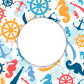 Nautical elements illustration of an abstract background with Stock Photography