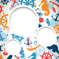 Nautical elements illustration of an abstract background with Royalty Free Stock Photo