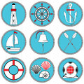 Nautical elements type 1 icons set in knotted circle including boat bell, boat, oars, rudder, vintage diving mask, life ring