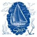 Nautical emblem with ship