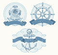 Nautical emblems with hand drawn elements Royalty Free Stock Photos