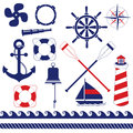 Nautical equipment equipments and element set Royalty Free Stock Photos