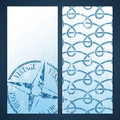 Nautical flayers with seafaring elements wind rose and rope pattern Stock Photography