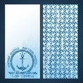 Nautical flyers with seafaring elements anchor and rope pattern Stock Photography