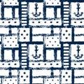 Nautical grunge geometric lattice, stripes, anchors and dots seamless pattern, vector