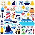 Nautical icon set Royalty Free Stock Photo