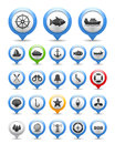 Nautical icon set of and fishing icons Royalty Free Stock Image