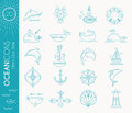 Nautical icon set, minimalistic flat design with thin strokes Royalty Free Stock Photo