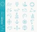 Nautical icon set, minimalistic flat design with thin strokes Royalty Free Stock Photo