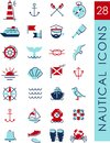 Nautical icons set of and design elements in vintage line style Stock Image