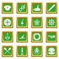 Nautical icons set green
