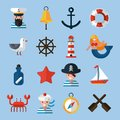 Nautical icons set with sailor anchor lifebelt star fish isolated vector illustration Royalty Free Stock Image