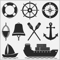Nautical icons silhouettes of different objects Royalty Free Stock Images