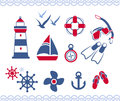 Nautical icons stylized sailor and in trendy blue red retro style Royalty Free Stock Image